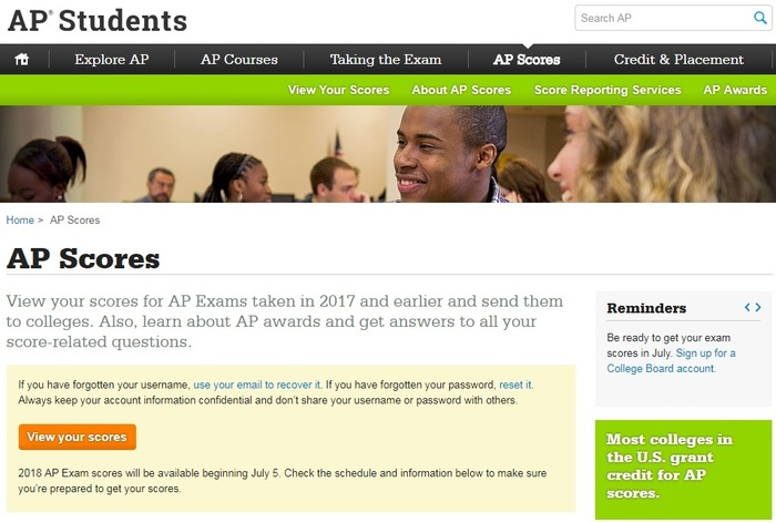 AP Scores screen capture