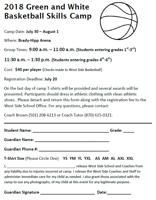 2018 Green & White Basketball Skills Camp