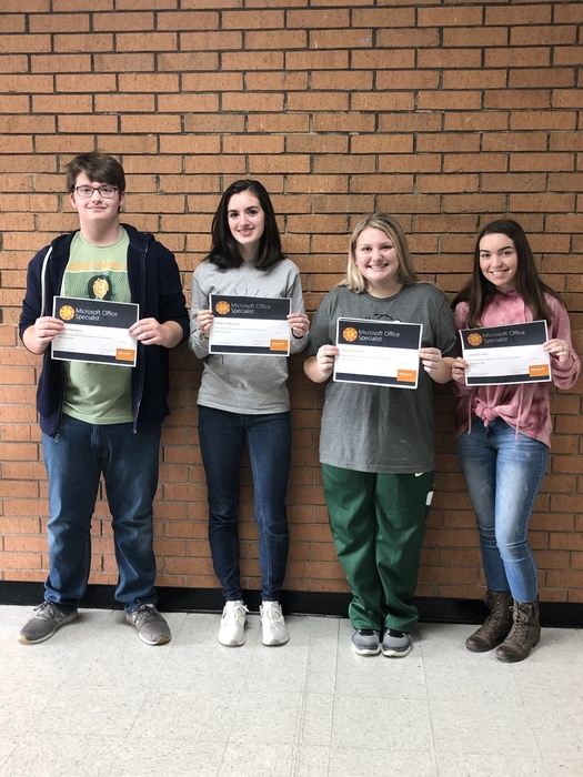 Kaleb Woods, Mekaelyn Ramsey, Shelby Marshall, and Whitney Hickey achieved their Microsoft Office Specialist certification in Word 2016. Congratulations