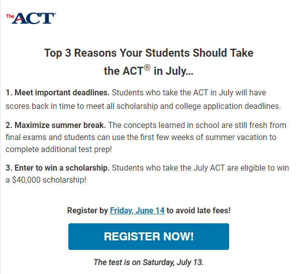 Take ACT in July!