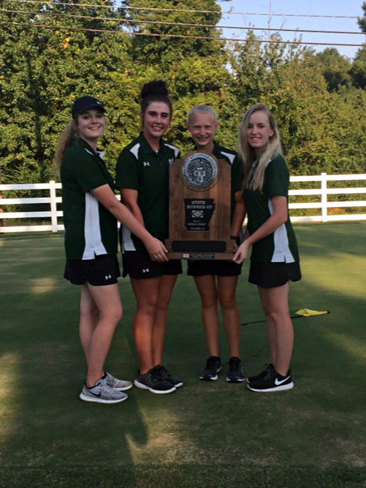 Girls Golf Team With Runner-up Trophy