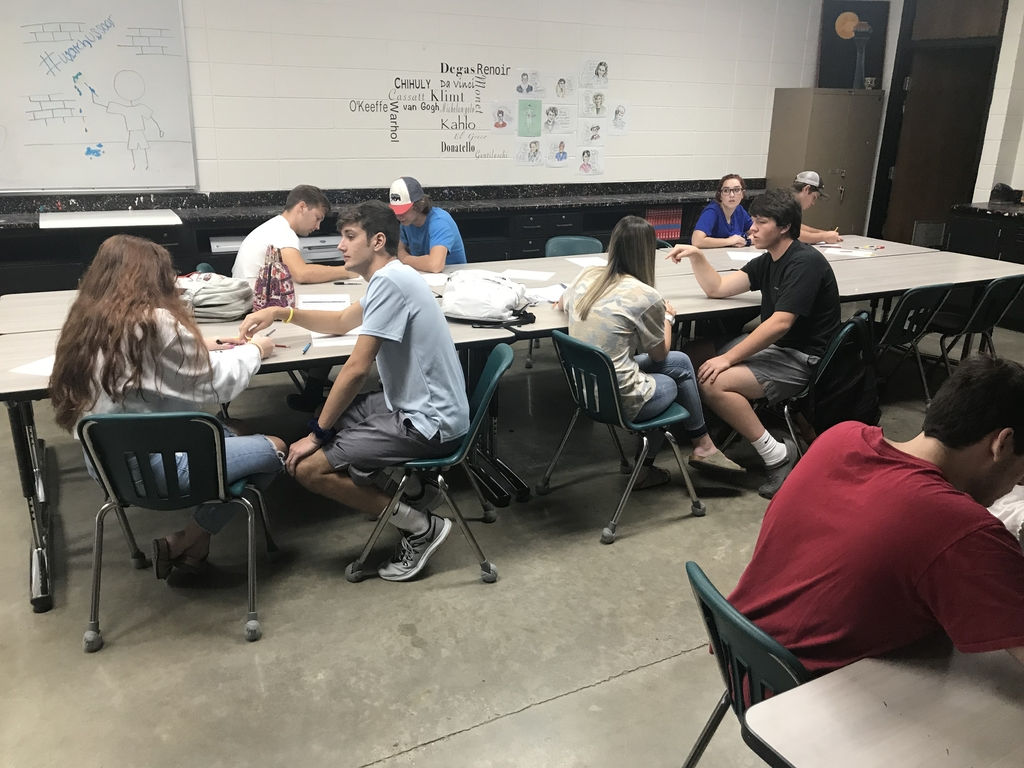 Student Kamren Johnson, James Davis, Matthew Beck, Gage Fetterman, Colby Stout, Alissa Allen, Jozie Hovick, and Andrew Turner doing an art analysis activity!